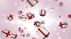 Festive boxes flying and spinning on a beautiful background. Stock Footage