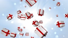 Festive boxes flying and spinning on a beautiful background. - stock footage