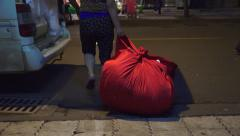 Lugging Load Of Laundry In Van Chinese City Street A Night Stock Footage