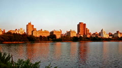 Stock Video Footage of Panoramic view of beautiful scenery in Central Park at sunset