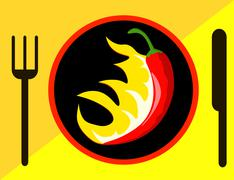 Hot Chili pepper with flames Stock Illustration