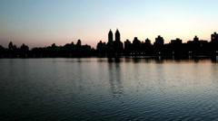 Panoramic view of beautiful scenery in Central Park at evening Stock Footage