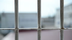 A typical landscape from the window of the prison Stock Footage