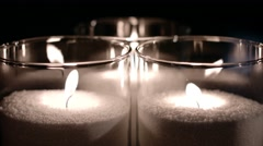 Big decorative glass candles Stock Footage