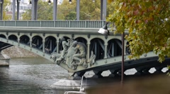 Pont de Bir-Hakeim Medium Shot Stock Footage