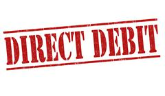 Direct debit grunge rubber stamp on white background, vector illustration - stock illustration