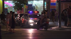 Police Car With Flashing Lights At Night Chengdu China  Stock Footage
