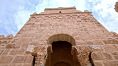 Walk inside ancient huge building Stock Footage