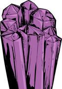 Purple Amethyst Quartz Crystals Stock Illustration