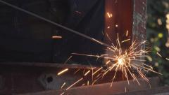 Arc welding in metal workshop, close up Stock Footage