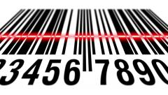 EAN barcode scanning, bottom view Stock Footage