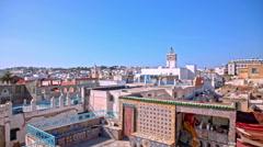 Tunis old city medina panning shot Stock Footage