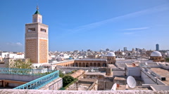 Tunis old town cityscape with Minaret on left Stock Footage