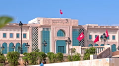 Parliament Building in Tunis of Tunisia Stock Footage