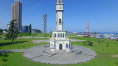 Aerial view of chacha tower in Batumi Stock Footage
