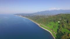 Aerial view of Batumi botanical garden Stock Footage