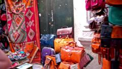 Passing by shops side by side in Tunis city Stock Footage