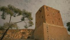 Old fort with tree in Israel Stock Footage