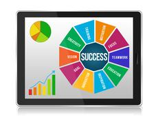 Business success infographic graphics in tablet pc Stock Illustration