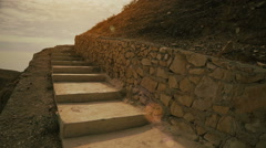 Old fort in Israel - Stairs and Sun Stock Footage