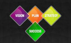 Stock Illustration of Vision plan and strategy graphics on black background