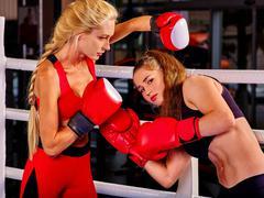 Portrait of sport girl boxing - stock photo