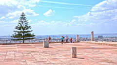 Group of tourists at Carthage ruins in Tunisia Stock Footage