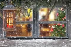 Atmospheric Christmas window sill decoration - stock photo