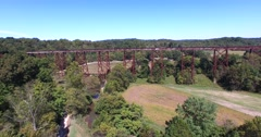Tulip Trestle Aerial, Tulip Viaduct, X76-6. Railroad Trestle. - stock footage