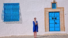 Traditional Sidi Bou Said person portrait Stock Footage