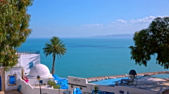 Sidi Bou Said buildings and sea panorama view Stock Footage