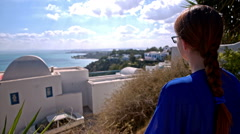 Person observing view in Sidi Bou Said Stock Footage