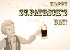 St. Patricks Day vintage shamrock beer and man Stock Illustration