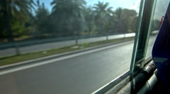 Bus passenger view through window Stock Footage