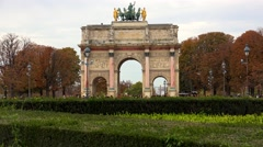 Stock Video Footage of The Triumphal Arch (de Triomphe du Carrousel) in front of the Louvre museum,