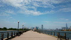 4k-Panning view of the Manhattan, standing at Liberty Park, New Jersey Stock Footage