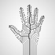Circuit abstract hand Stock Illustration