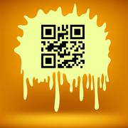 Yellow Blot with QR Code - stock illustration