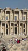 Ephesus Turkey Ancient Roman Library of Celsus vertical HD Stock Footage
