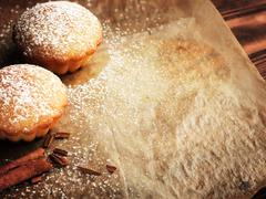 Christmas muffins covered powdered sugar Stock Photos