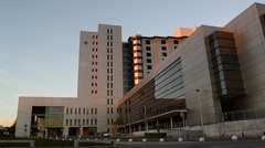 Health Care Hospital Building in Spain At Sunset Stock Footage