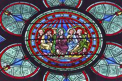 Mary Jesus Christ Disciples Stained Glass Notre Dame Cathedral Paris France - stock photo