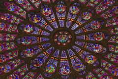 North Rose Window Mary Jesus Stained Glass Notre Dame Cathedral Paris France - stock photo