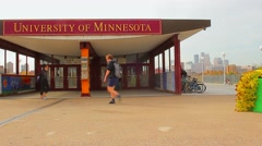 Daytime Shot of Washington Ave Walking Bridge in Minneapolis at the University - stock footage