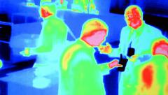 thermal imaging unit (temperature control unit), modern technology details. - stock footage