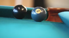 Hitting pool ball into corner pocket Stock Footage