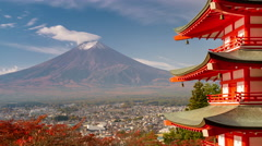 Chureito Pagoda and Mt. Fuji Stock Footage