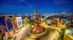 Roundabout in Bangkok Stock Footage