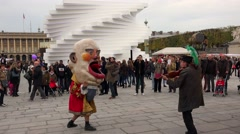 Stock Video Footage of Street theater, artists in Paris. France. 4K.