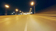 Driving Freeway POV in city at night - stock footage